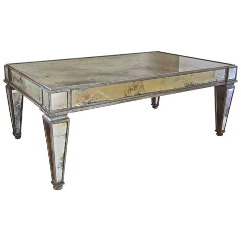 French Style Antiqued Mirror Cocktail Coffee Table For