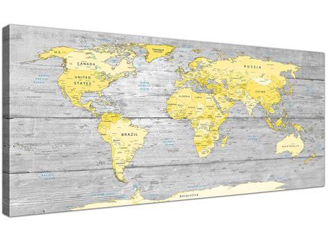 large yellow grey map  world atlas canvas wall art print