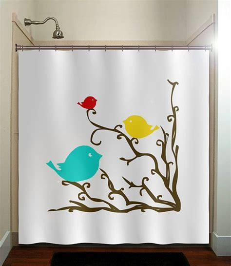 Red cardinal blue bird yellow canary tree shower curtain