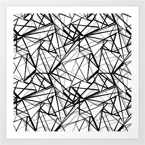 Abstract Black Pattern by Black And White Abstract Geometric Pattern Print By
