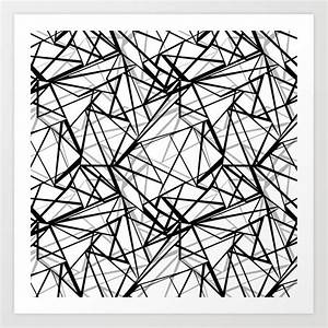 Black and white abstract geometric pattern . Art Print by ...