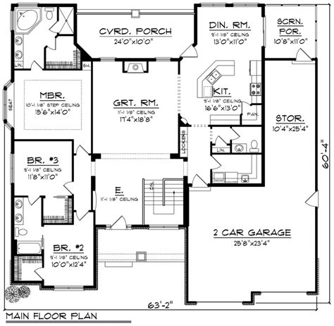 House Plan 96128 Ranch Style with 2129 Sq Ft 3 Bed 2