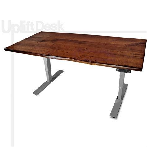 wood standing desk adjustable shop uplift 900 mesquite solid wood height adjustable desks