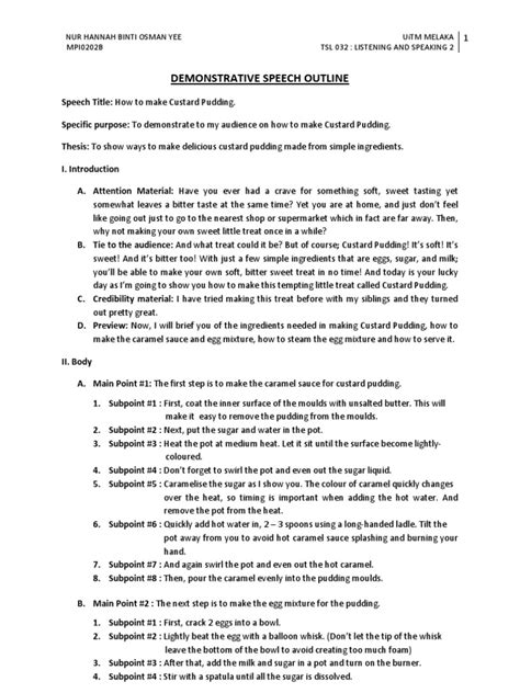 Demonstration Speech Outline Template by Demonstration Speech Outline Custard Pudding Pudding