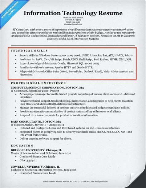 resume technical skils it 20 skills for resumes exles included resume companion