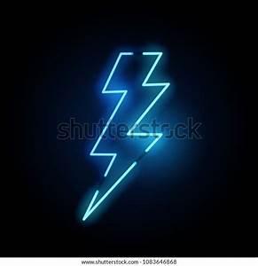 Blue, Neon, Lightning, Bolt, Sign, Vector, Stock, Vector, Royalty