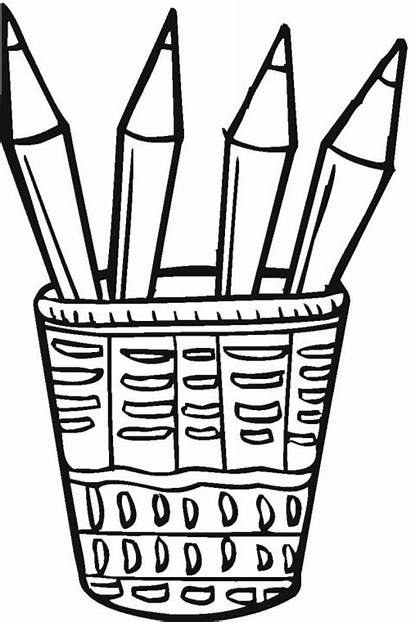 Pencils Pencil Coloring Pages Colored Template Clipart