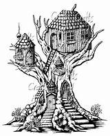 Drawing Drawings Fairy Tree Coloring Pages Treehouse Pencil Sketch Adult Sketches Perspective Fantasy Colouring Elves Houses Doodle Mushroom Cool Stairs sketch template