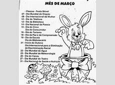 Datas Comemorativas do Mês de Março! ESPAÇO EDUCAR