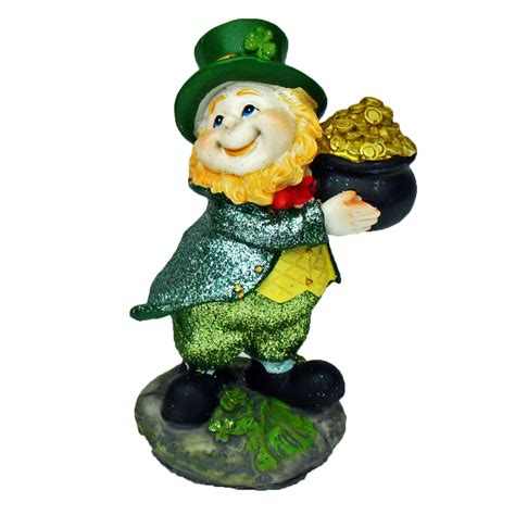 glittered leprechaun with a pot of gold st s day decorations