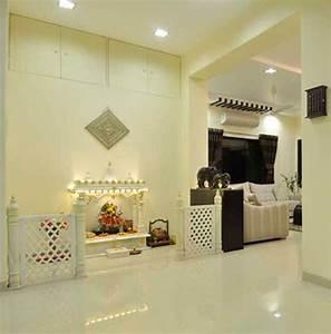 Pooja Room Designs in Hall - Pooja Room Rangoli Designs