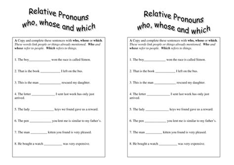 relative pronouns handout grade 4 by sparkles28