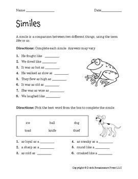 similes worksheets  tims printables teachers pay teachers