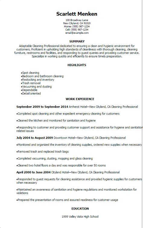 professional cleaning professional resume templates to