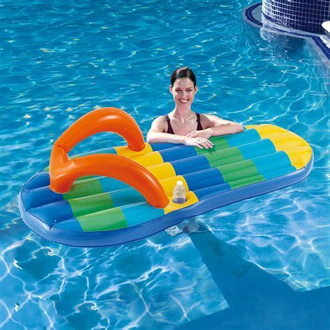 Blue Wave Beach Striped Flip Flop 71 in Inflatable Pool Float