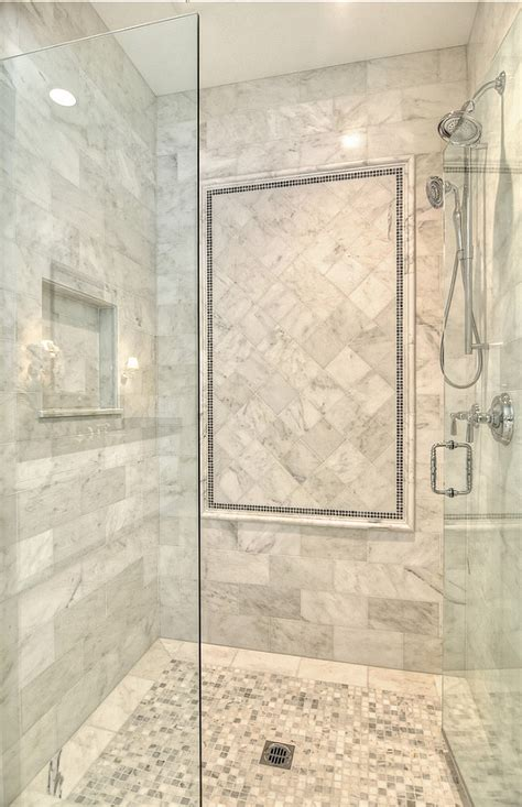 master bathroom shower floor mosaic detail family home with coastal transitional interiors home