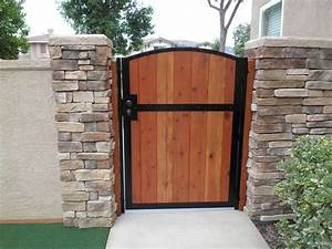 Wooden gate solid redwood metal contemporary iron garden for Wood garden gates