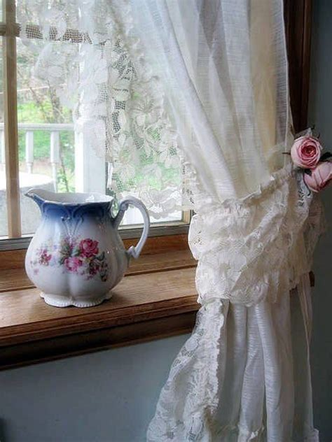 curtains lace curtains frills drapes ivory tie backs