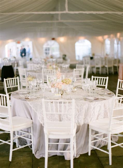tent wedding white chivari chairs grey twill table cloth