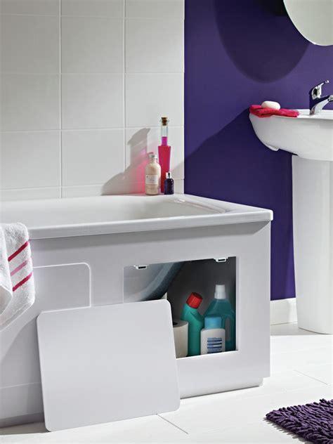 croydex storage bath panel gloss white wb