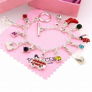 Silver Plated 13 Crystal Charm Bracelet for Kid Teen Girls ...