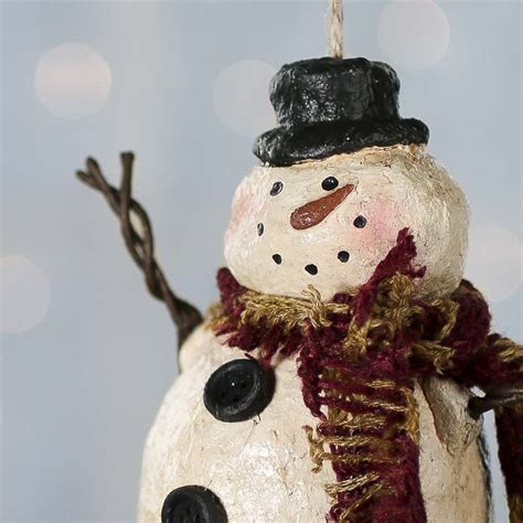 primitive paper clay snowman ornament christmas