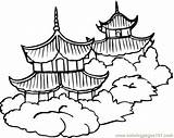 Chinese Pagoda Clipart Architecture Coloring Pages Pagodas Countries China sketch template