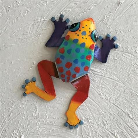 Spring wall decor help in the organization of things, they are also key in making your space cozier as well as adding exquisite contrast and pattern. Multi Colored Spotted Dancing Frog Metal Wall Decor   Wine wall decor, Wall decor amazon, Fabric ...