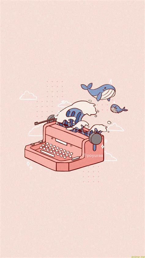 pink aesthetic narwhal wave typewriter doodle