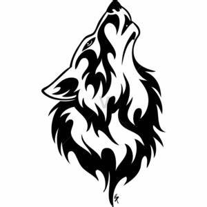 Tribal Howling Wolf Head Black On White - Polyvore | Art ...