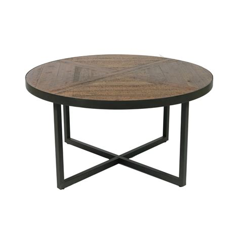 """Find a great selection of wood coffee tables, metal accent tables, storage tables & more. Wallace & Bay - Foley Rustic Wood and Black 36"""" Coffee Table with Round, Pieced Top And Metal ..."""