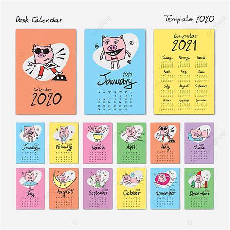 plantilla de calendario de escritorio   ilustracion de vector de dibujos animados lindo