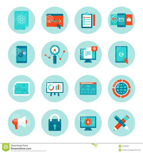 Marketing Free by Vector Web Development And Digital Marketing Icons Stock