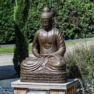 Buddha Figur 150 Cm : seated buddha brown fibreglass garden statue chakra pose ~ A.2002-acura-tl-radio.info Haus und Dekorationen