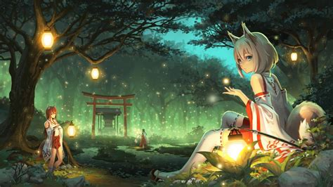 animated anime fantasy forest tree light youtube