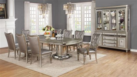 danette metallic platinum dining room set from coaster