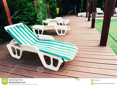 lounge chair  deck stock photo image