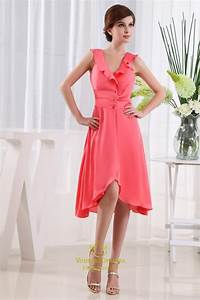 Coral High Low Homecoming Dress, Tea Length V Neck ...