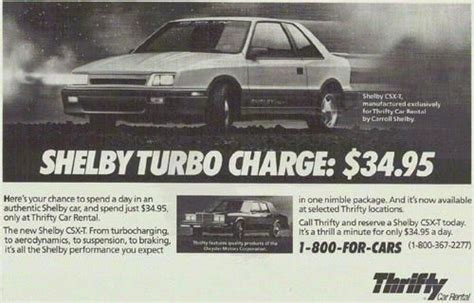 Sell Used 1988 Dodge Shadow Shelby Csx-t, Thrifty Rent-a