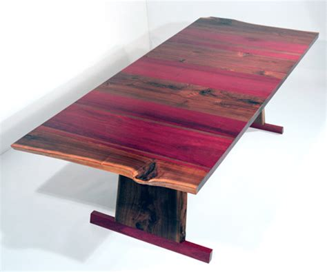 Kitchen Shades Ideas - solid walnut dining table absolutely gorgeous with purple heart wood