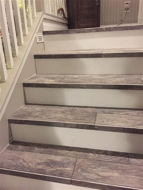wood tile stairs wood look tiled stair staircases