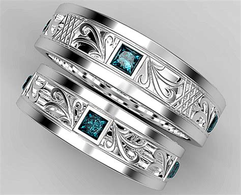 princess cut blue diamond matching wedding ring