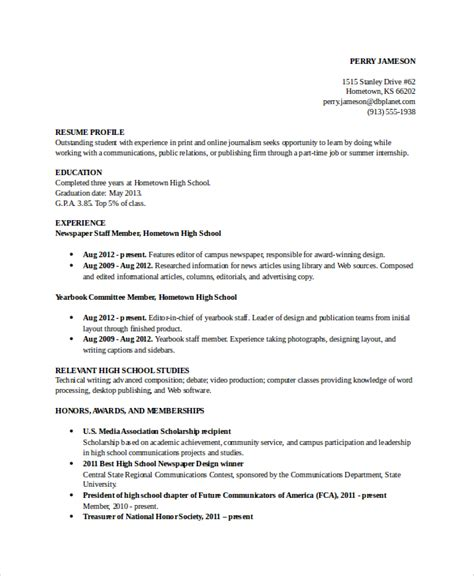 College Student Resume High School Activities by Sle High School Student Resume 8 Exles In Word Pdf