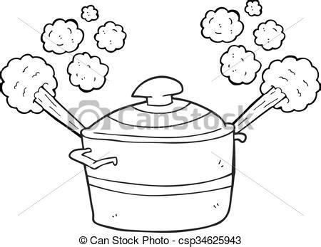 cuisine dessin animé steaming pot cuisine noir blanc dessin animé steaming