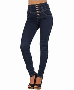 KRISP Animal Lining Super High Waist Skinny Navy Jeans ...