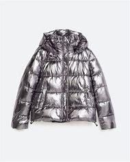 Zara Puffer Jacket Metallic Silver