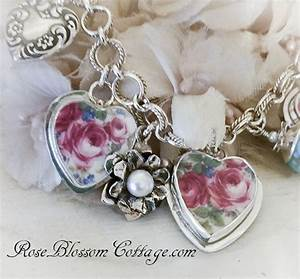 Hearts and Roses Sterling Broken China Jewelry Heart Bracelet