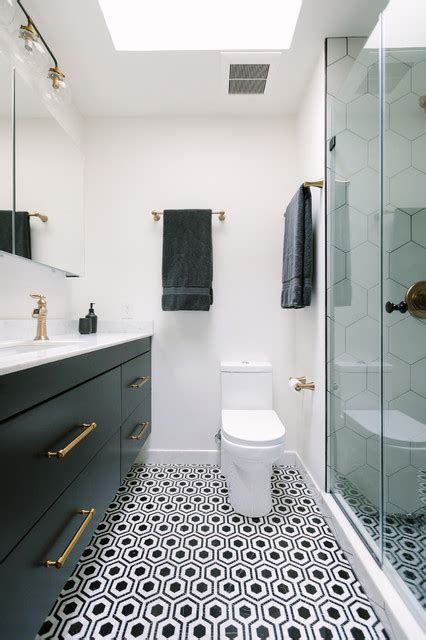 bold black  white style   small master bath