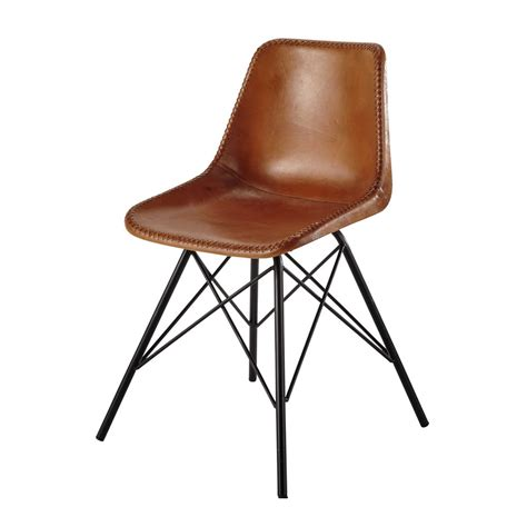 chaise en cuir leather and metal chair in camel colour austerlitz