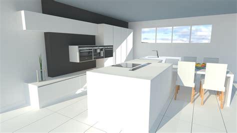 armoire cuisine en bois très cuisine blanche sans poignées avec îlot